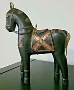 Rare Hand Carved Wood Trojan Horse Statue Hammered Brass And Copper