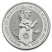2021 Great Britain 1 Oz Platinum Queenand039s Beasts The White Lion - Sku218674
