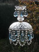 Small Antique Italian Chandelier With Murano Blue Crystal Glass Drops