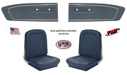 Front And Rear Seat Cover Upholstery And Door Panel Set 1964 - 65 Mustang Blue