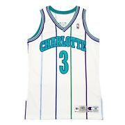 Vtg Nba Charlotte Hornets 3 Reeves Champion Game Worn Pro Cut Jersey. Size 44+3