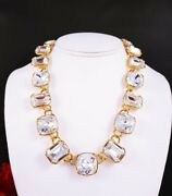 Amazing Large Trifari Gold Tone Faceted Crystal Dome Link Necklace Runway