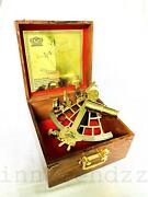 Brass Vintage Nautical Style 9 Marine Ship Sextant Instruments With Wooden Box