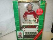 Vintage 1995 Animated Musical Holiday Scene Mrs. Claus With Wood Spoon And Bowl