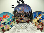 Disney Collector Plates Little Mermaid, Mickey And Minnie, Beauty And The Beast Gift