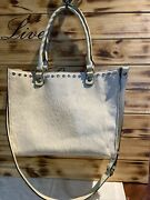 Patrica Nash Handbags Winter White Leather With Calf Hair On Front