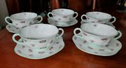 Shelley Bone China Rosebud Footed Cream Soup Bowls With Saucers Lot Of 10