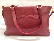 Vintage Cherry Red Caviar Leather Tote Bag Entrupy Authenticated 2005