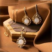 Women Jade Hollow Garland Earrings Necklaces Real 925 Silver Gold Jewelry Sets