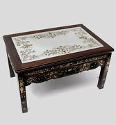 Japan Japanese Carved Wood Low Table W/ Mother Pearl Inlay And Painted Glass Top