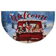 Red Truck With Winter Dogs Welcome Rug Mat -17.75 X 29.5 Premium Cwi Quality