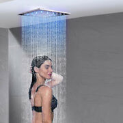 Led 12-inch Stainless Steel Square Rainfall Shower Head Chrome Finish
