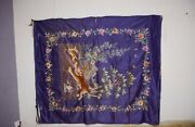 Antique Chinese Qing Dynasty Silk Embroidered Textile Panel Wall Hanging 84x71