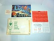 Lionel 1952 Catalog With Original Folder And Some Other Paperwork