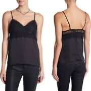 The Kooples Black Lace Trim Camisole Tank Size 1 Ft0p1140 Nwt 220