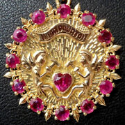 Vintage French And039 Il Bat Pour Toi And039 Charm / Pendant Ruby Gold 18k 70s 6.8 Gr