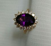2.8 Dwts Oval Amethyst 18k Yellow Gold Ring With Floral Diamond Halo Size 6