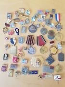 Lot 60 X Genuine Ussr Soviet Russian Sporting Military Pin Badge Medals