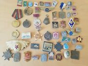Lot 50 X Genuine Ussr Soviet Russian Sporting Military Pin Badge Medals