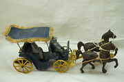 Antique Stanley Toys Cast Metal Horse Buggy Wagon Surrey Fringe Top Driver Rider