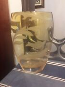 Frosted Fire Amber Mouth Blown European 12 Crystal Vase Yellow Glass Pocket
