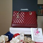 Authentic Small Shopping Tote Red Patent Silver Hw Bag