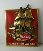 Vintage 1970and039s 3d Falls City Beer Sailing Ship Good Times Red Plastic Bar Sign