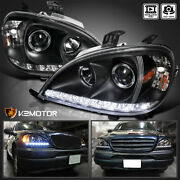 Black For 1998-2001 Mercedes Benz W163 Ml320 430 Projector Headlights Led Strip