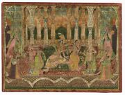 Antique Indian Miniature Painting King And Queen Love Scene - Rajput Painting
