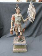 Antique 17th Century Italian Carved Wooden Polychrome Saint Florian Statue