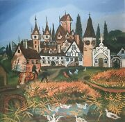 Antonio Ligabue Swiss Landscape With Animals Plate Signed Lithograph