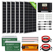 Eco 400w 600w Watt Solar Panel Kit With Inverter 100ah Battery For Off Grid Home