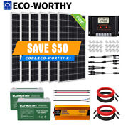 Eco 400w 600w 1200w Watt Solar Panel Kit With Inverter Battery For Off Grid Home