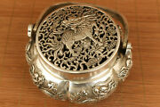 Chinese Old Copper Plate-silver Hand Carved Kylin Statue Incense Burner