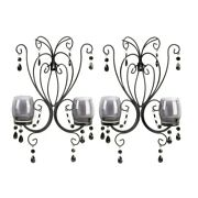 Set Of 2 Wall Decor Accent Hanging Candle Holder Sconce Decor Beaded Decoration