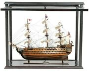 Large 30 Hms Victory Wood Ship Model And Front Open Display Case Nautical Decor