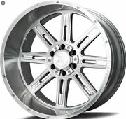 Set Of 4 Axe Cf Ax4.1 22x12 5x127/139.7 Silver Brush Milled