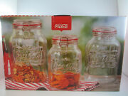 Coca-cola Embossed Clear Glass 3 Pc Storage Jar Canister Set Red Gasket Lid