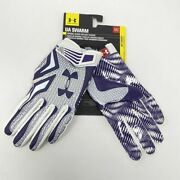 New Under Armour Ua Swarm Football Receiver Gloves Mens M Flag Tackle Purple Nfl