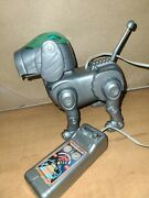 Vintage 90's-tekno-toy Quest-motion Interactive Robot Dog-silver-manley - Works