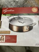 Lagostina Martellata Hammered Copper And Stainless Steel 3 Quart Covered Casserole