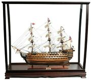 Large 37 Hms Victory Ship Model With Display Case Wood Nautical Decor Display