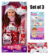 """My Life As Hello Kitty 18"""" Brunette Brown Doll Outfit Sleeping Bag Accessory Set"""