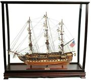 Old Ironsides Wood Ship 29 With Display Case Model Replica Uss Constitution New