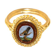 2981 Micro Mosaic,roma, Second Half Of 19th C., Set In Modern 18k Gold Ring