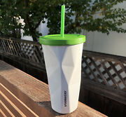 2012 16oz Starbucks White Steel Chiseled Tumbler Cold Cup With Green Lid And Straw