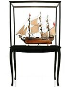 37 Large Hms Surprise Ship Model With Floor Case Wood Model Nautical Decor Gift