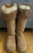 Ugg® Australia Special Ed.classic Tall Chestnut Suede Fox Fur Trim Boots Size 7