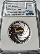 2020 James Bond 007 High Relief Silver Proof 1 1oz Coin Ngc Pf70 Uc W/box And Coa
