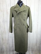 Rare Vtg Wwi-wwii Royal Danish Army Melton Wool Martingale Trench Great Coat 38
